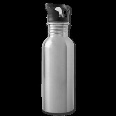 Trinkflasche integrierter Trinkhalm silber individuell online selbst gestalten